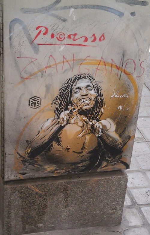 Bob is everywhere! A street Picasso indeed. A bus stop in L'Eixample. Photo by Heather Granahan
