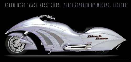 "Arlen Ness is one of the best-known builders in the world of custom motorcycles, and one might argue the king of quirky designs, including his famous painting style. Above is the ""Mach Ness"". Photo by Michael Lichter"