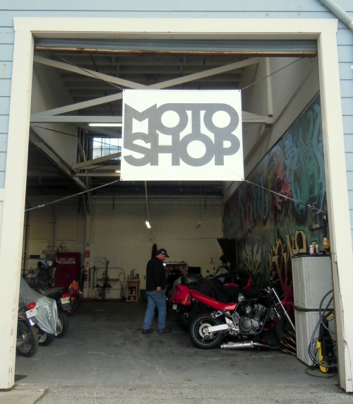 The Moto Shop in it's sweet warehouse in South San Francisco.